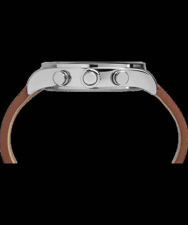 Montre chronomètre Waterbury Traditional 42mm Bracelet en cuir Stainless-Steel/Brown/Black large