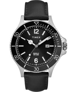 Montre Harborside 42 mm Bracelet en cuir Chrome/Noir large