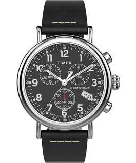 Montre chronomètre Standard 41mm bracelet en cuir Argenté/Noir/Noir large
