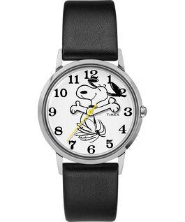 Montre avec bracelet en cuir 34mm TimexXPeanuts exclusivement pour Todd Snyder représentant Snoopy Acier inoxydable/Noir/Blanc large