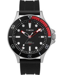 Montre Allied Coastline 43mm avec lunette rotative et bracelet en silicone Argenté/Noir large