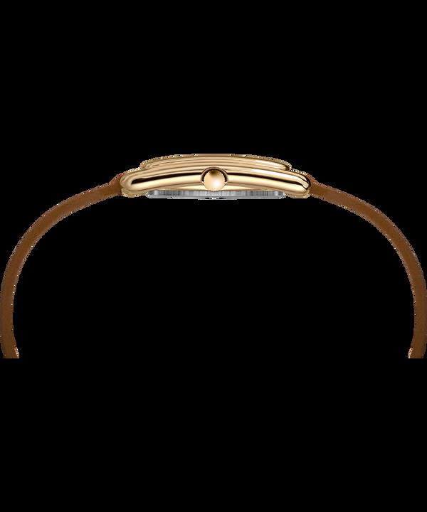 Montre Addison 25mm Bracelet double tour en cuir Doré/Marron/Argenté large