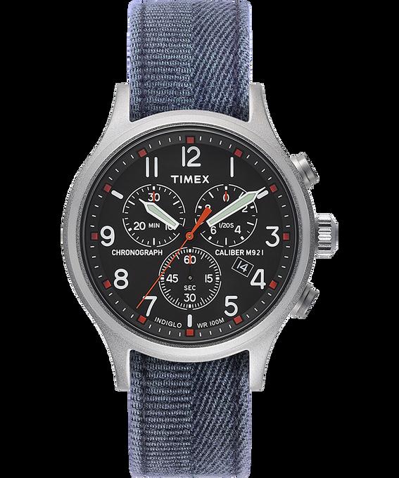 Montre chronomètre Allied 42mm Bracelet en tissu délavé à la pierre Argenté/Bleu/Noir large