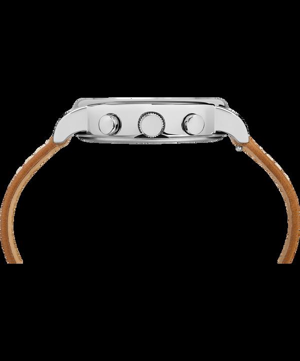 Montre chronomètre Weekender 40mm Bracelet deux pièces en cuir Silver-Tone/Tan/Cream large