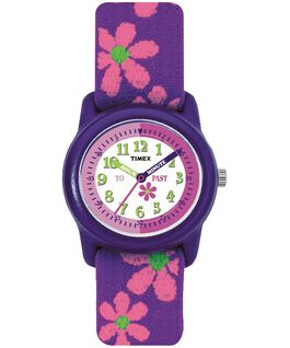 Girls Kids Analog 29mm Elastic Fabric Watch Purple/White large
