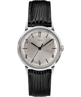 Montre Marlin 34mm Mécanique à remontage manuel avec bracelet en cuir Black/Silver-Tone large