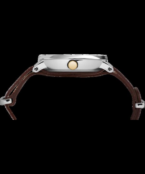 Montre Southview 41mm Bracelet en cuir Chrome/Brown/Cream/Gold-Tone large