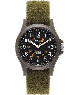 Montre Acadia 40mm Bracelet en tissu avec Velcro Vert/Noir large