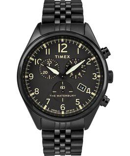 Montre bracelet chronomètre Waterbury Traditional trois cadrans 42mm Acier inoxydable Noir large