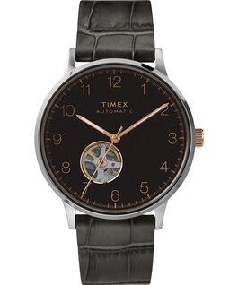 Montre automatique Waterbury Classic 40mm Bracelet en cuir avec cadran cœur ouvert Acier inoxydable/Gris/Noir large