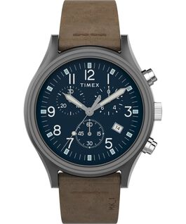 MK1 Steel Chronograph 42mm Leather Strap Watch Gunmetal/Brown/Blue large