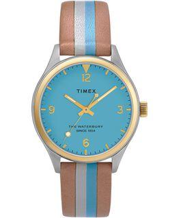Montre femme Waterbury Traditional 34mm bracelet en cuir rayé Bicolore/Brun/Bleu/Doré large