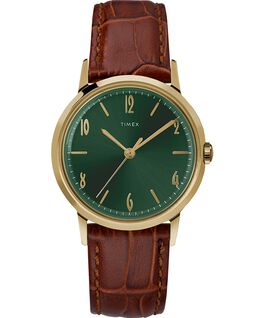 Montre Marlin 34mm Mécanique à remontage manuel avec bracelet en cuir Gold-Tone/Brown/Green large