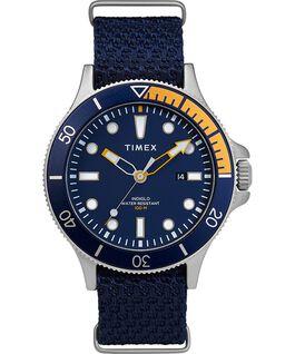 Montre Allied Coastline 43mm avec lunette rotative et bracelet en tissu Silver-Tone/Blue large