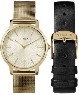 Coffret cadeau montre Metropolitan 34mm avec bracelet à milanaise et bracelet supplémentaire Doré large