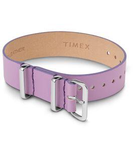 Bracelet en cuir une pièce couche simple 16mm argenté Violet large