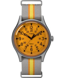 Montre MK1 California 40 mm Bracelet en tissu Argenté/Gris/Orange large