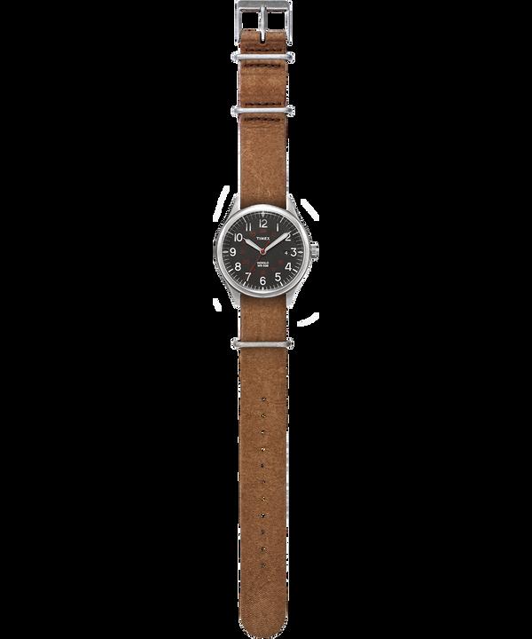 Montre Waterbury United 38mm Bracelet en cuir délavé à la pierre Argenté/Marron/Noir large