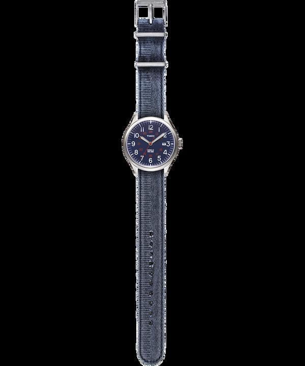 Montre Waterbury United 38mm Bracelet en tissu délavé à la pierre Acier inoxydable/Bleu large