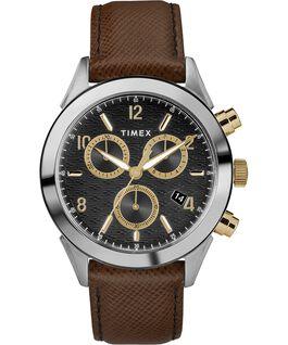 Montre chronomètre Torrington 40mm pour homme Bracelet en cuir Bicolore/Marron/Noir/Doré large