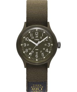 Montre MK1 Military 36 mm Bracelet en gros-grain Noir/Vert large