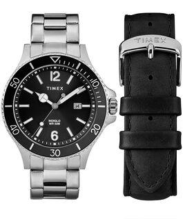 Coffret cadeau montre Harborside 43mm avec bracelet supplémentaire Chrome/Argenté/Noir large