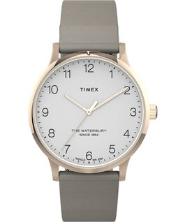 Waterbury 36mm Classic Leather Strap Watch. Rose-Gold-Tone/Tan/White large