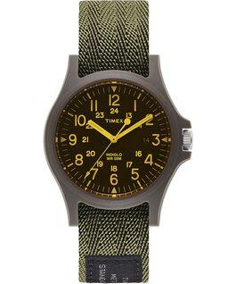 Montre Acadia 40mm avec lentille colorée Bracelet en tissu Vert/Noir large