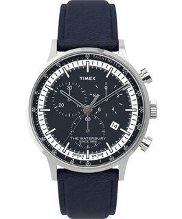 Montre chronomètre Waterbury Classic 40mm Bracelet en cuir avec cadre Acier inoxydable/Bleu large