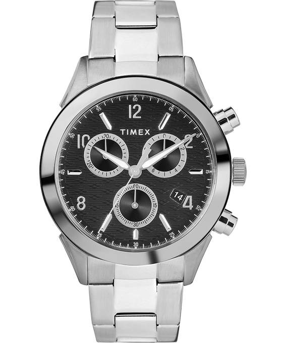 Montre bracelet chronomètre Torrington 40mm pour homme Acier inoxydable/Noir large
