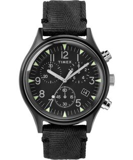 MK1 Chronograph Steel 42mm Fabric Strap Watch Black large