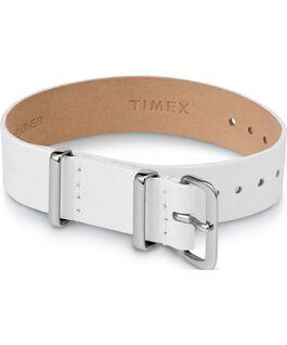 Bracelet en cuir une pièce couche simple 16mm argenté Blanc large