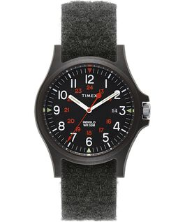 Montre Acadia 40mm Bracelet en tissu avec Velcro Noir large