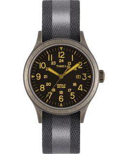 Montre Allied 40mm Bracelet en tissu réversible et réfléchissant Doré/Noir large