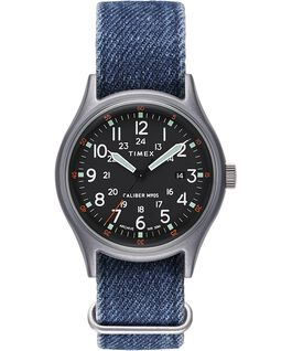Montre avec bracelet en tissu ArchiveMK1 Aluminum 40mm Argenté/Bleu/Noir large