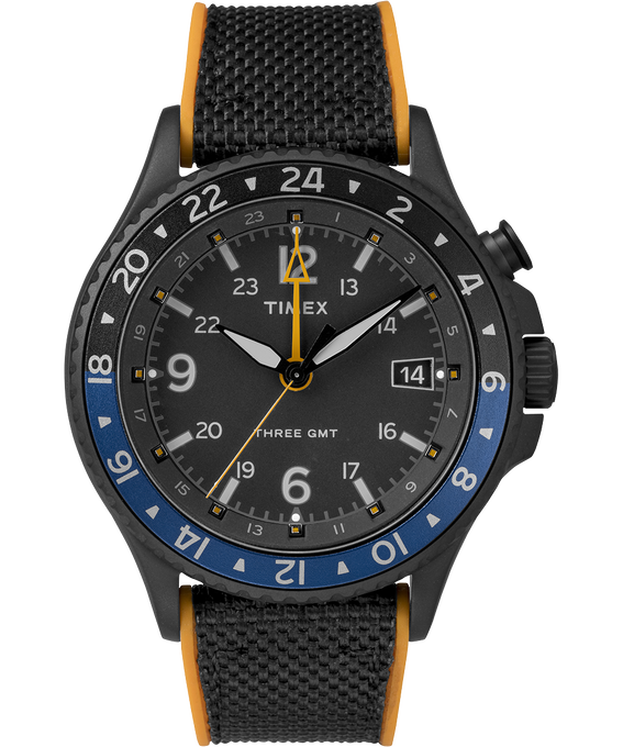 Allied Three GMT 43mm Silicone Strap Watch Black large