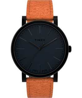 Montre Originals 42 mm Bracelet en cuir Noir/Marron large