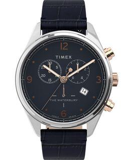 Montre chronomètre Waterbury Traditional 42mm Bracelet en cuir croco Acier inoxydable/Bleu large