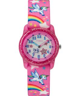 Kids Analog Strap Watch with Pattern Pink/White large