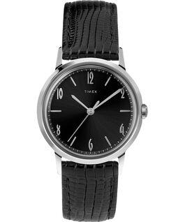 Montre Marlin 34mm Mécanique à remontage manuel avec bracelet en cuir Black/Black/Silver-Tone large