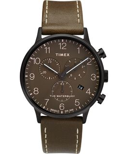 Waterbury-40mm-Classic-Chrono-Leather-Strap-Watch Black/Brown/Olive large