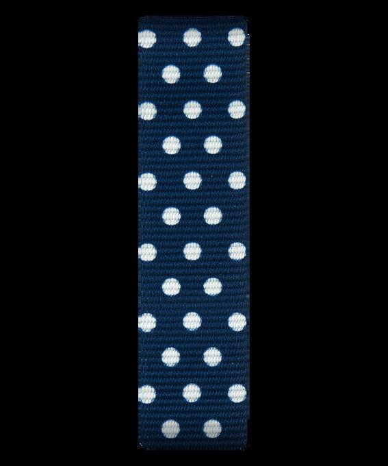 Bracelet une pièce en nylon bleu/points blancs  large