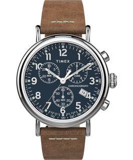 Montre chronomètre Standard 41mm bracelet en cuir Argenté/Brun clair/Bleu large