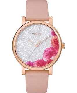 Montre Full Bloom 38mm avec cristaux Swarovski Bracelet en cuir Or rose/Rose/Blanc large