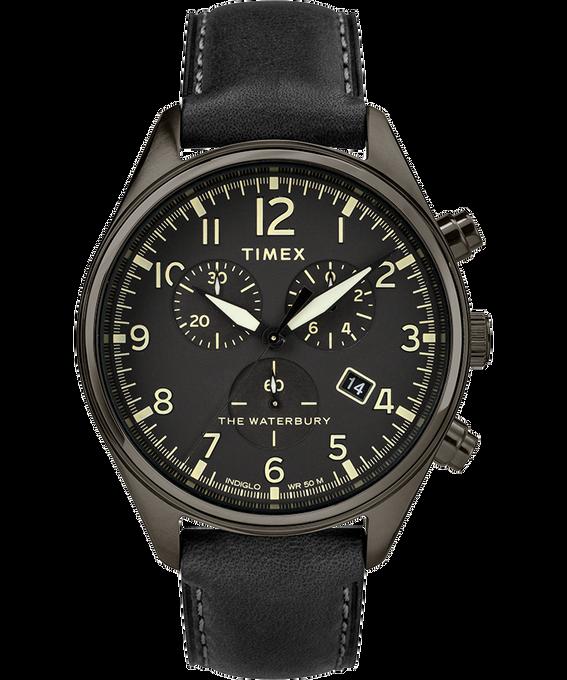 Montre chronomètre Waterbury Traditional trois cadrans 42mm Bracelet en cuir Gris métallique/Noir large