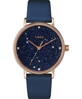 Montre Celestial Opulence 37mm Bracelet texturé Rose doré/Bleu-CANCER,LION,VIERGE large