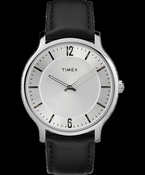 Metropolitan Mens 40mm Leather Watch Silver-Tone/Black large