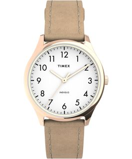 Modern Easy Reader 32mm Leather Strap Watch Rose-Gold-Tone/Tan/White large