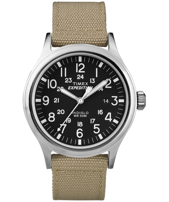 Expedition Scout 40mm Nylon Watch Silver-Tone/Tan/Black large
