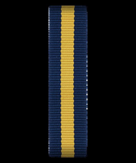 Bracelet une pièce en nylon bleu/jaune  large